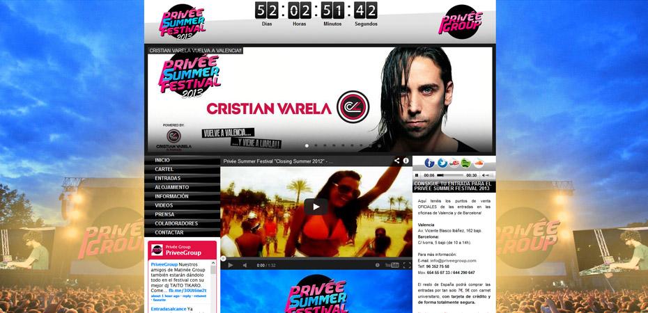 Página web Prive Summer Festival